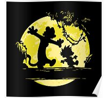 calvin & hobbes on the moon Poster