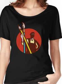 Artist Painter Holding Pencil Paintbrush Circle Retro  Women's Relaxed Fit T-Shirt