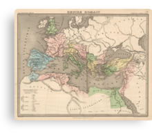 Vintage Map of The Roman Empire (1838) Canvas Print