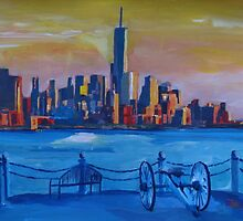 New York City Manhattan with Freedom Tower Skyline and Cannon by artshop77