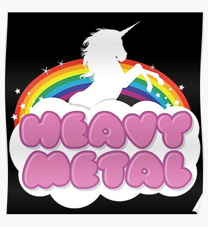 Heavy Metal Unicorn Rainbow  Poster