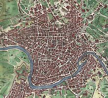 Vintage Map of Rome Italy (1721)  by BravuraMedia