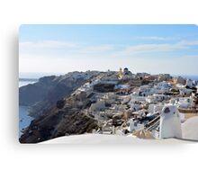 28 September 2016 View of white buildings in Santorini, Greece Canvas Print