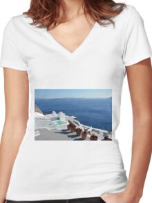 View of white buildings in Santorini, Greece Women's Fitted V-Neck T-Shirt