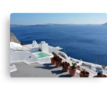 View of white buildings in Santorini, Greece Canvas Print