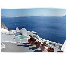 View of white buildings in Santorini, Greece Poster
