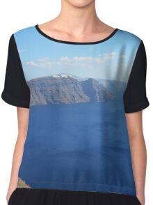The Aegean sea in Santorini, Greece Chiffon Top