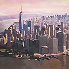 The unforgettable Skyline of New York City Manhattan with Freedom Tower at Dusk by artshop77