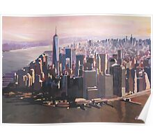 The unforgettable Skyline of New York City Manhattan with Freedom Tower at Dusk Poster