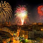 Fireworks over town by Ralph Goldsmith