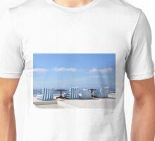 Bean bags facing the Caldera in Santorini, Greece Unisex T-Shirt