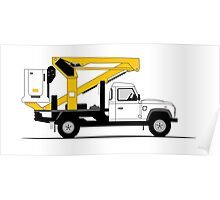 A Graphical Interpretation of the Defender 130 Single Cab Cherry Picker Poster