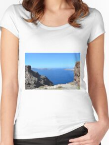 The Aegean sea in Santorini, Greece and the volcanic formations Women's Fitted Scoop T-Shirt