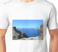 The Aegean sea in Santorini, Greece and the volcanic formations Unisex T-Shirt