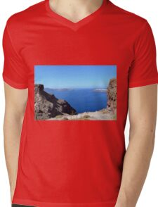 The Aegean sea in Santorini, Greece and the volcanic formations Mens V-Neck T-Shirt