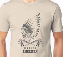 Indian Skull with Tomahawk Emblem Unisex T-Shirt