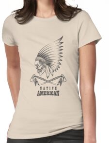 Indian Skull with Tomahawk Emblem Womens Fitted T-Shirt