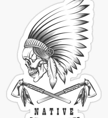Indian Skull with Tomahawk Emblem Sticker