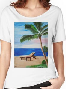 Caribbean Strand with Beach Chairs Women's Relaxed Fit T-Shirt