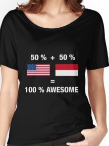 Half Indonesian Half American 100% Indonesia Flag Women's Relaxed Fit T-Shirt