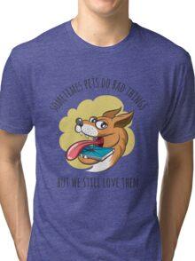 Dog Bites Cell Phone Tri-blend T-Shirt