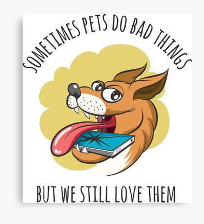Dog Bites Cell Phone Canvas Print