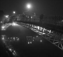 Ha'penny bridge on a foggy night by Alena Kucharenka