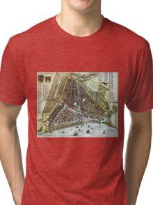 Vintage Map of Rotterdam Netherlands (1649) Tri-blend T-Shirt
