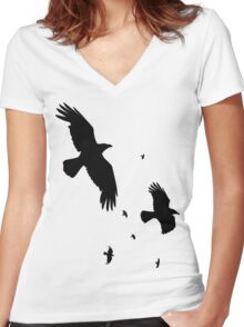 A Murder of Crows In Flight Vector Silhouette Women's Fitted V-Neck T-Shirt