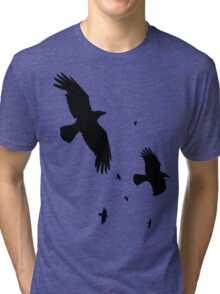 A Murder of Crows In Flight Vector Silhouette Tri-blend T-Shirt