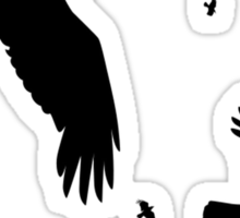 A Murder of Crows In Flight Vector Silhouette Sticker