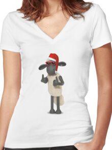 Shaun Xmas Women's Fitted V-Neck T-Shirt