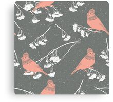 Red cardinals in hats and scarves winter design Canvas Print