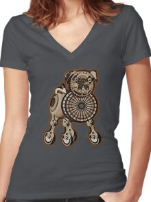 Steampunk Pug Women's Fitted V-Neck T-Shirt