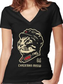 chairman meow Women's Fitted V-Neck T-Shirt