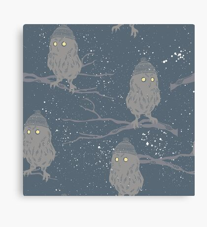 Cute baby owls in wooly hats starry sky Christmas design Canvas Print