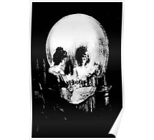 Woman with Halloween Skull Reflection In Mirror Poster