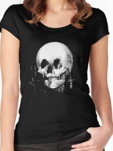 Woman with Halloween Skull Reflection In Mirror Women's Fitted Scoop T-Shirt