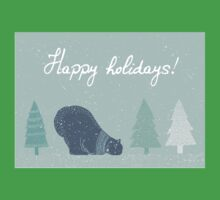 Polar bear and Christmas trees winter design - happy holidays! Kids Tee