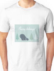 Polar bear and Christmas trees winter design - happy holidays! Unisex T-Shirt