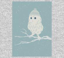 Cute little owl in a wooly hat winter design One Piece - Long Sleeve