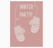 Winter party pair of mittens gloves design Kids Tee