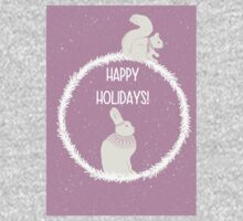 Squirrel and hare winter Christmas design - happy holidays One Piece - Long Sleeve