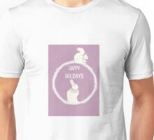 Squirrel and hare winter Christmas design - happy holidays Unisex T-Shirt