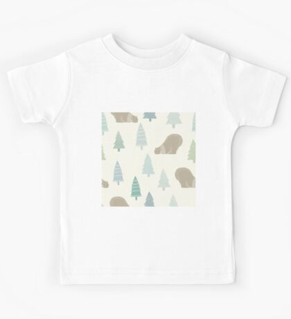 Polar bear in a scarf and Christmas trees winter design Kids Tee