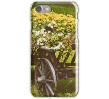 Flower Country Wagon On Green Grass iPhone Case/Skin