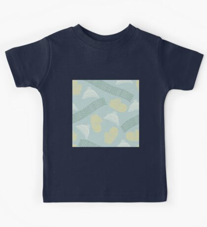Winter scarves, hats and gloves design Kids Tee