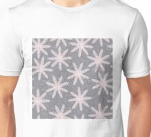 Snowflake blizzard embroidery in pink and gray design Unisex T-Shirt