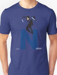 Nightwing - Superhero Minimalist Alphabet Clothing T-Shirt