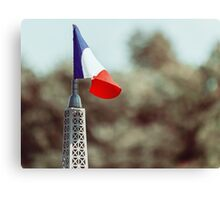 France Flag Close Up On Sunny Day Canvas Print